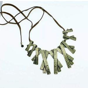 New MARLYN SCHIFF antique gold statement necklace